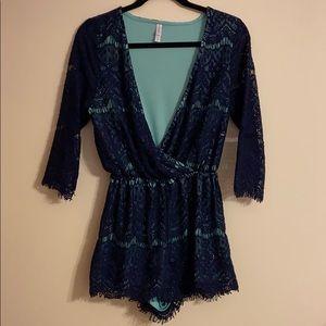 Blue Lace Romper